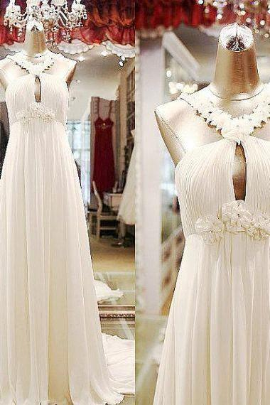 Ivory Halter Ruched Empire Waist Wedding Gown with Floral Appliqués and Keyhole Front, Formal Dress