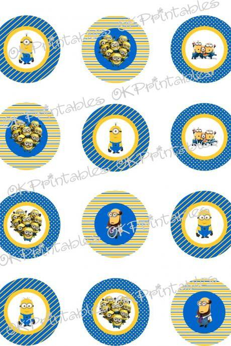 Minions (Despicable me) Cupcake Toppers, Printable, Minion Circles, back to school labels also available