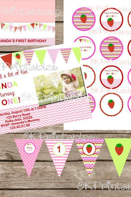 STRAWBERRY INVITATION Birthday Party Printable Chevron Strawberry first birthday party Strawberry Chevron Party Invitation Printable File