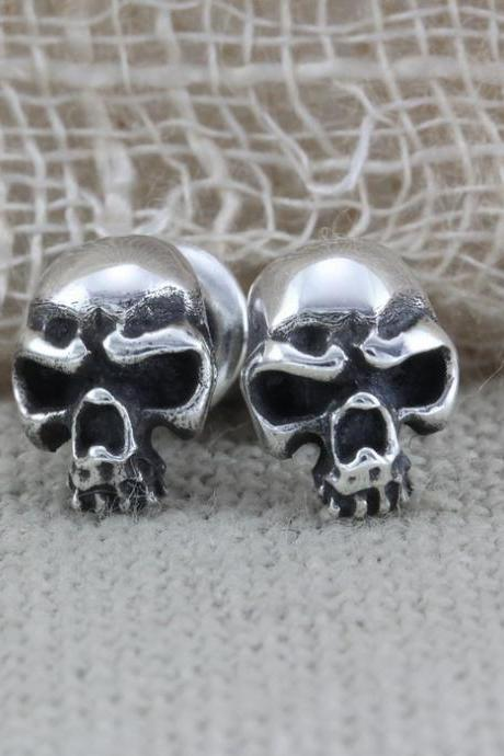 Oxidized Skull Silver Earrings, Skull Jewelry, Gothic Silver Jewelry, Silver Skull Earrings, Tiny Stud Earring (WES015)