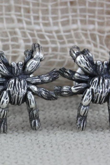 Spider Silver Earrings, Goth Spider Earrings, Spider Jewelry (WES001)