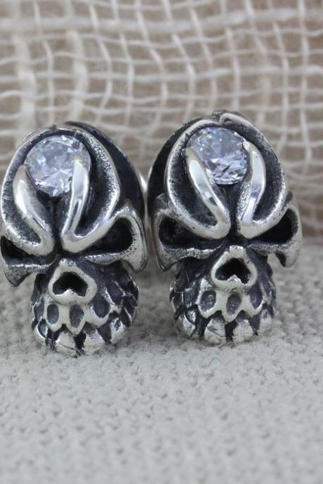 Skull SIlver Earrings with CZ, Skull Jewellery, Sterling Silver Skull Earrings, Skull Studs Post (WES006)