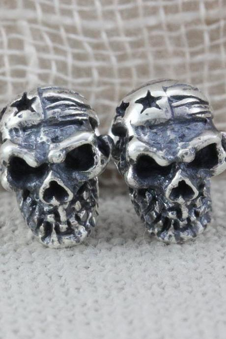 Skull Earrings, Skull Silver Earrings, Gothic Jewelry (WES003)