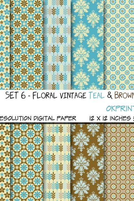 Set 006 - Floral Vintage Teal & Brown Digital Paper, Floral Pattern, Floral Digital Background, Scrapbook Paper, Printable Paper, Web Design