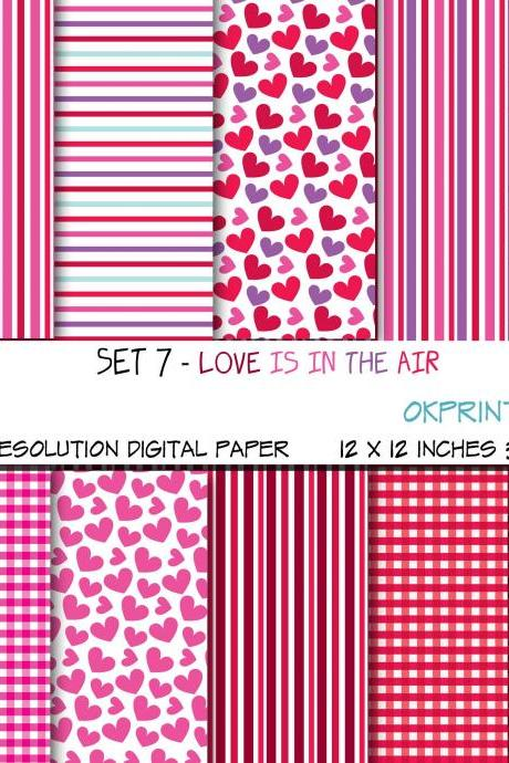 Set 007 - Love is in the air Digital Paper, Hearts Pattern, Gingham pattern, Digital Background, Scrapbook Paper, Printable Paper, Web Design