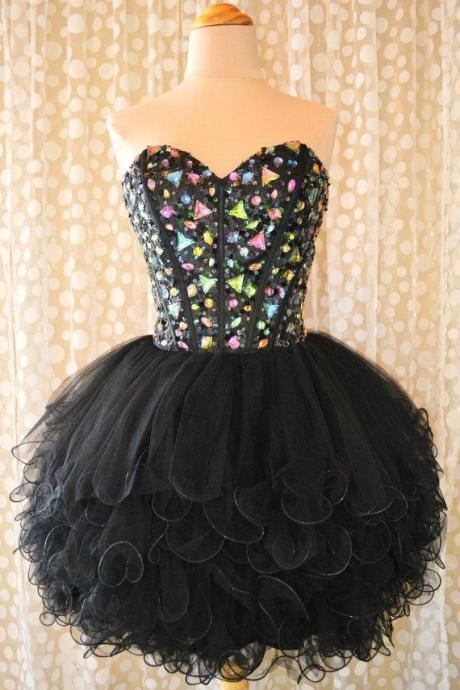 Custom Made Short Black Sweetheart Neck Prom Dresses, Short Black Homecoming Dresses, Homecoming Dresses 2015, Cocktail Dress