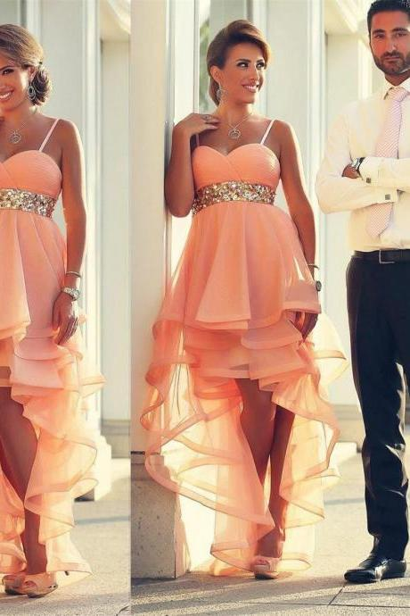 2016 Coral Ruffles Prom Party Gown Sweetheart Spaghetti Straps with Sequined Waist Short Prom Dresses Hi-lo Cocktail Dresses