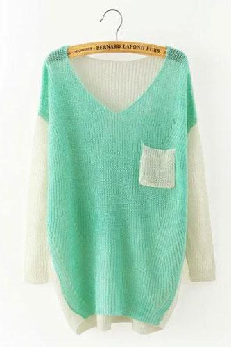 Mixed Color V-neck Raglan Dolman Sleeve Irregular Hem Sweater