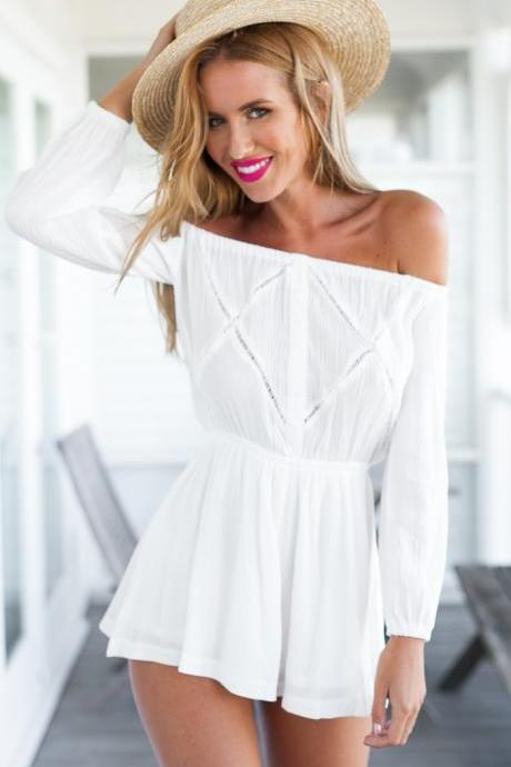 White Off-The-Shoulder Long Sleeved Romper