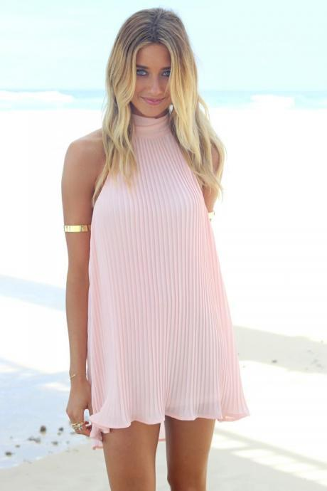 Beach Hang A Neck Strap Thread Backless Dress