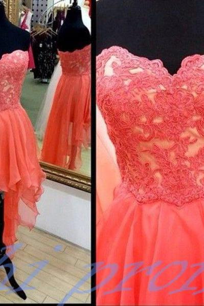 Lace Homecoming Dress,High Low Homecoming Dresses,High low Homecoming Gowns,Coral Prom Dress,Chiffon Prom Dresses,Sweet 16 Dress,Simple Evening Dresses For Teens