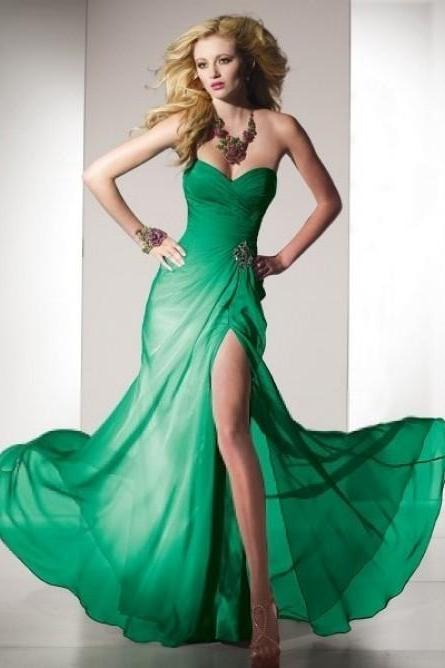 Sleeveless Floor-length A-line Sweetheart Ruffles Chiffon Prom Dress