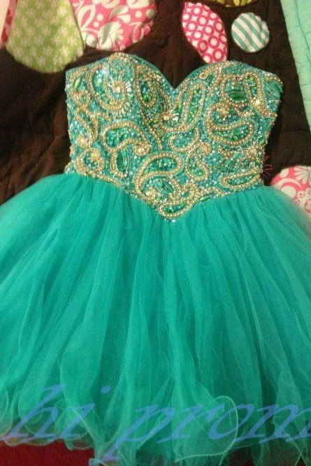 Mint Green Homecoming Dress,Sparkle Homecoming Dresses,2015 Style Homecoming Gowns,Fashion Prom Gowns,Classy Sweet 16 Dress,Gold Beading Homecoming Dresses,Tulle Cocktail Dress,Evening Gowns