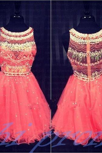 Coral Homecoming Dress,Sparkle Homecoming Dresses,2015 Style Homecoming Gowns,Coral Pink Prom Gowns,A Line Sweet 16 Dress,Classy Homecoming Dresses,Tulle Cocktail Dress,Evening Gowns
