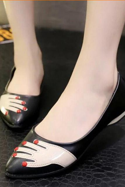 The new age season 2015 shallow leisure pointed mouth women's shoes and red slap flat shoes-black