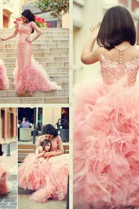 2015 Sweet Lace Pink Flower Girls Dresses For Weddings Ball Gown Tiers Tulle Sheer Cheap Price Formal First Communion Dress
