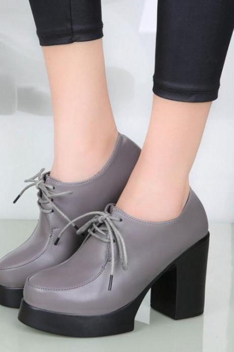 Fashion Round Closed Toe Lace-up Chunky Super High Heel Grey PU Basic Pumps