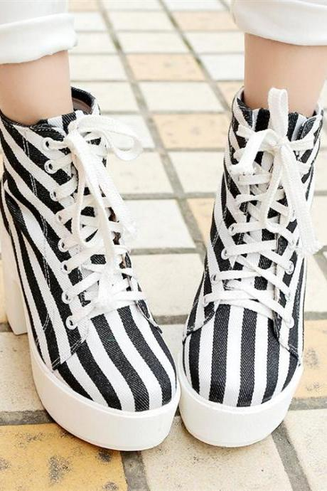 Lace-Up Canvas Striped Boots with High Chunky Heel
