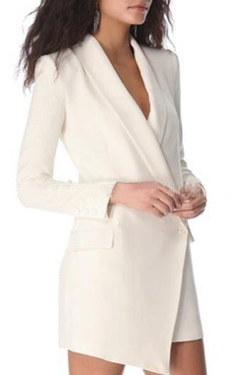 Fashion Long Sleeve Asymmetric White Blazer Dress (2 Colors)
