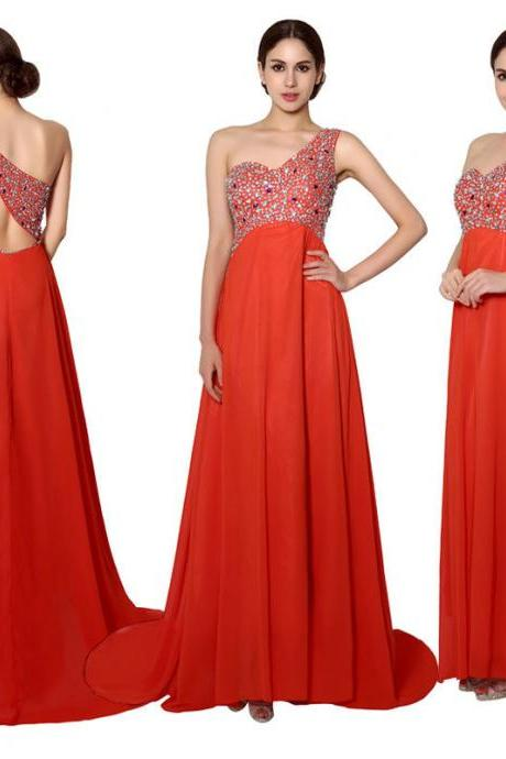 Sexy one shoulder open back beaded top long chiffon prom dresses,A line dress prom long ,formal evening dress