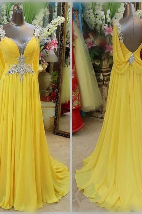 prom dresses 2019,backless prom dresses,long crystal beading dresses, yellow evening dresses, formal dresses evening, plus size dresses, sexy evening gowns