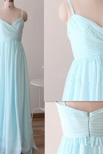 Spaghetti Strap Ruched Chiffon A-line Floor-Length Prom Dress, Evening Dress