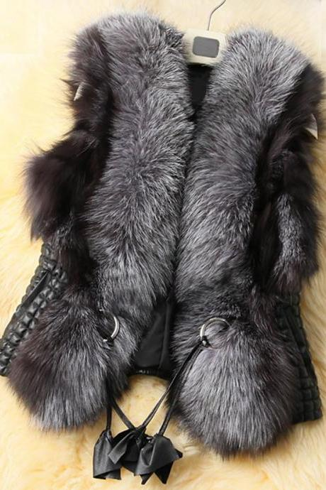 Faux Leather Vest with Faux Fur Collar