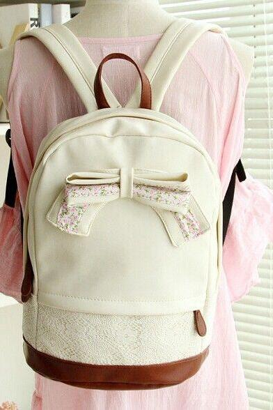 PU Lather Backpack Hipster Backpack Girls Backpack Canvas Backpack White