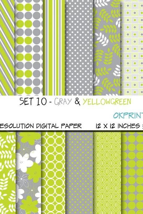 Set 010 - Gray and yellowgreen Digital Paper, Floral / stripes / dots/ geometric / leaves/ Scrapbook Paper, Printable Paper, Web Design