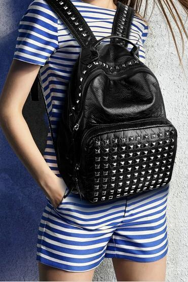 Preppylook Punk Stud PU Leahter Casual Outdoor Sports College Students School Backpack