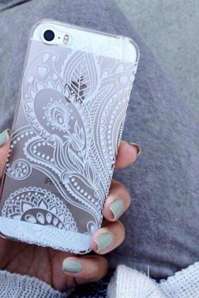 Apple iPhone clear hard case 4, 4s 5 5s 5c 6 6 Plus Henna Paisley Floral White Lace Print Cover