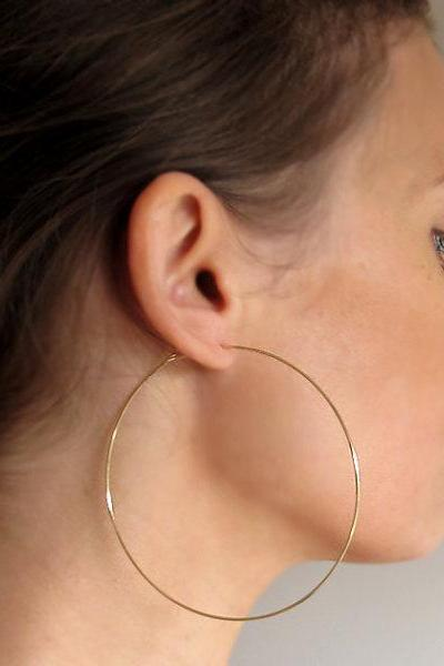 Gold Hoop Earrings - Fashion Hoops - XL Gold Hoops - lightweight hoop earrings from Nadin