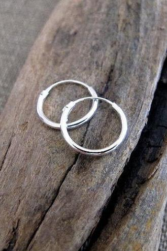Small Sterling Silver Hoops - Medium Hoops - 15mm Hoops Earrings