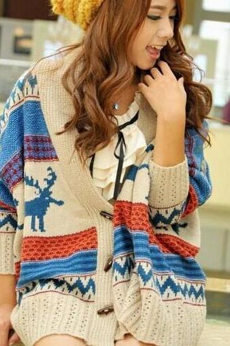 Bat Wing Coat Retro Knit Loose Sweater Cardigan
