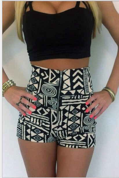 Black top printing high waist shorts two-piece 5031684