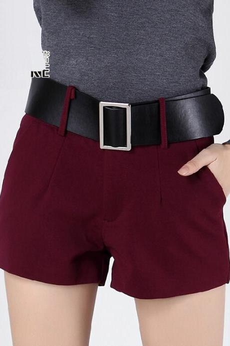 Loose Cotton Short Pants - Burgundy / Red