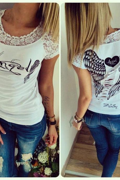 New Women Dream Angel Wings Printing Short-Sleeve Loose T-Shirt Tops Blouses White