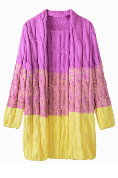 Fashion Long Sleeves Patchwork Yellow Acrylic Regular Cardigan Sweater