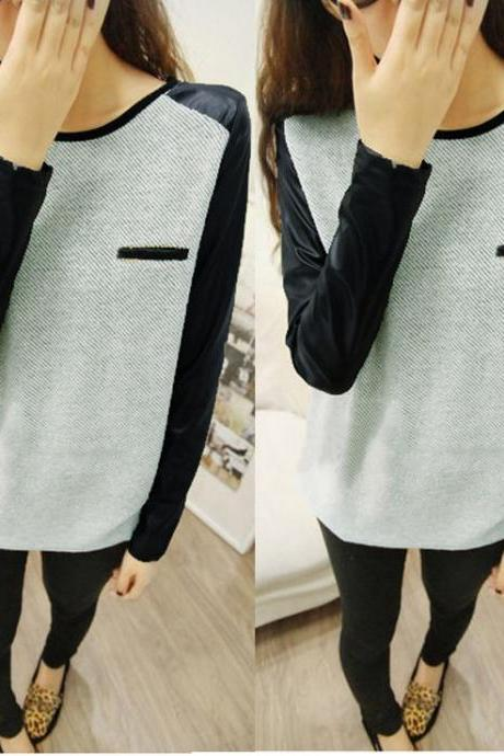 2015 Women Loose PU Leather T-shirt Long Sleeve Tops Blouse Tee Casual Tops