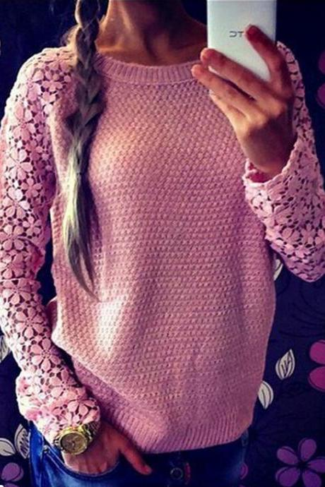 Hollow out lace lace sleeve splice sweater