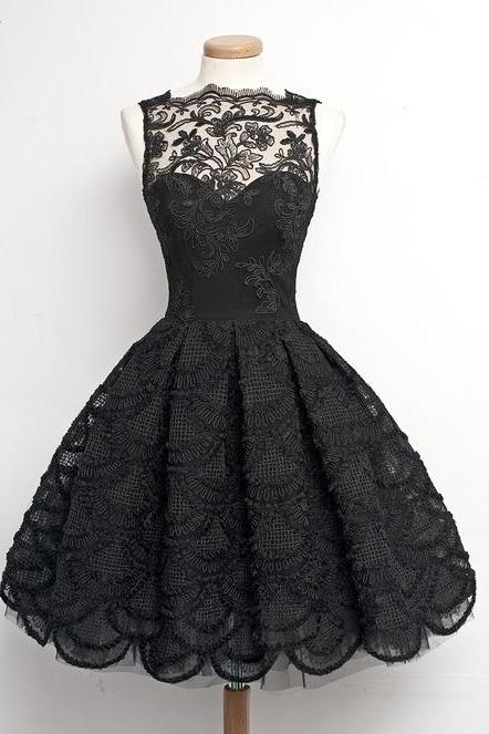 Custom Made A Line Black Lace Prom Dresses, Homecoming Dresses, Cocktail Dresses
