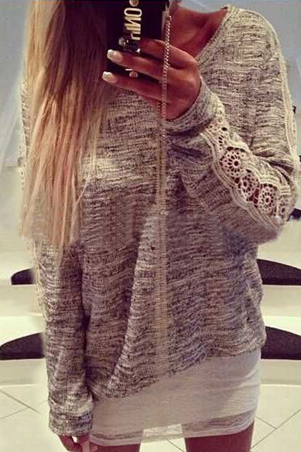 Loose round neck stitching long-sleeved sweater GH9106JL