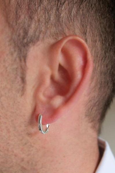 Single Mens Earring in Sterling Silver - Men's Jewelry - Oval Hoop Earring for Men