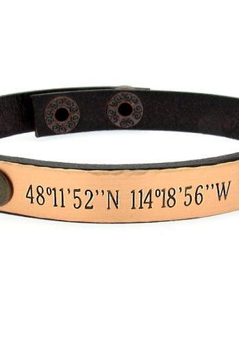 Custom Latitude Longitude Bracelet for Him - Mens Gift - Mens Jewelry - Personalized Mens Bracelet - GPS Coordinates Leather Cuff