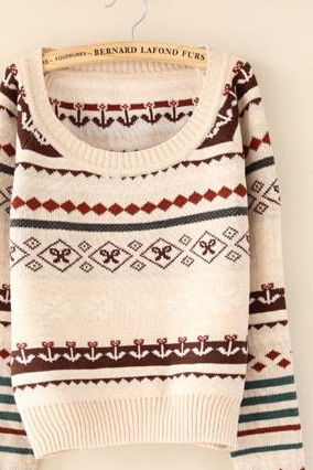 Hot sale Argyle Geometric Flower Pattern Sweater for women