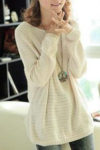 Hot sale Beige Loose Bat Hollow Sweater for women