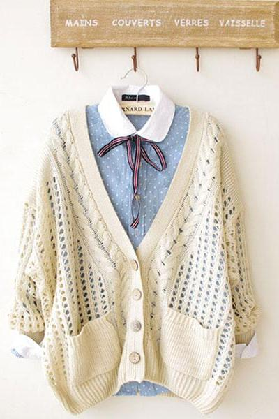 2015 Hot sale Unique Fresh Floral Crochet Cardigan - Beige for women