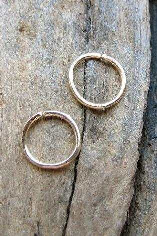 Cartilage Hoops - Minimalist Gold Earrings - Extra Small Hoops for Helix, Nose Ring, Endless, Tragus, Nose ring, Seamless, Catchless