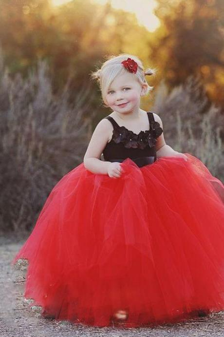 Red and Black Flower Girls Dress, Ball Gown Little Flower Girls Dress, Square Girls Pageant Dress, Red Flower Girls Dresses, Elegant Little Flower Girls Dresses, Long Little Girls Party Dresses, Tulle Girls Communion Dress