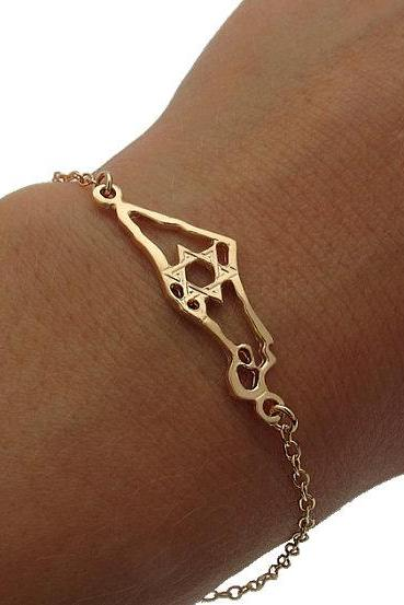 Jewish Bracelet - Gold Israel Map Bracelet - Star of David Bracelet - Jewish Gift Idea